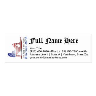 Bandera americana de la silueta del chica tarjetas de visita mini