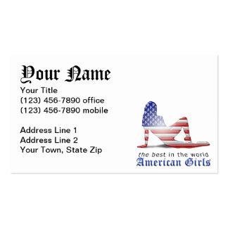 Bandera americana de la silueta del chica tarjetas de visita