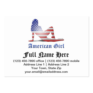 Bandera americana de la silueta del chica tarjetas de visita grandes