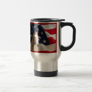 Bandera americana de la taza del viaje del caballo