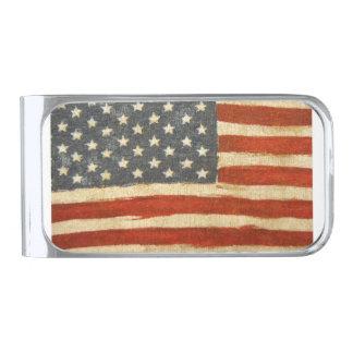 Bandera americana de la vieja gloria clip para billetes plateado