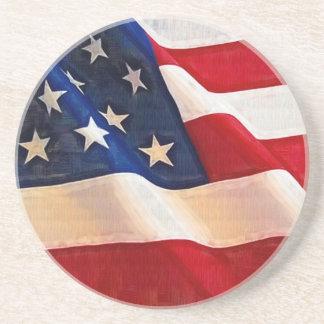 Bandera americana de la vieja gloria de las barras posavasos personalizados