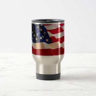 Bandera americana de la vieja gloria de las barras taza de viaje de acero inoxidable