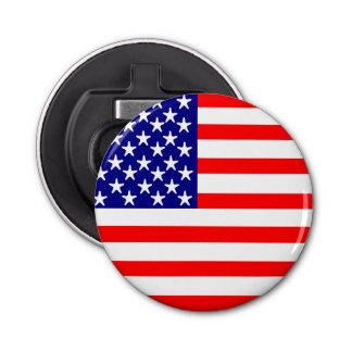 Bandera americana de las barras y estrellas de los abrebotellas redondo