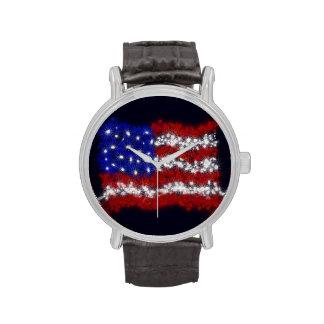 Bandera americana de las barras y estrellas de los reloj de mano