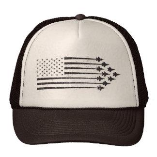 Bandera americana de las estelas de vapor del gorras