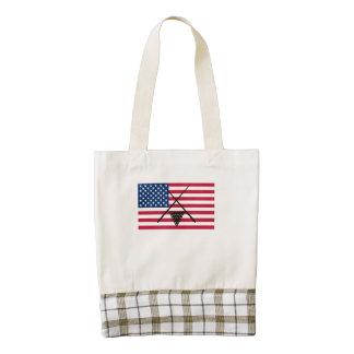 Bandera americana de los billares bolsa tote zazzle HEART