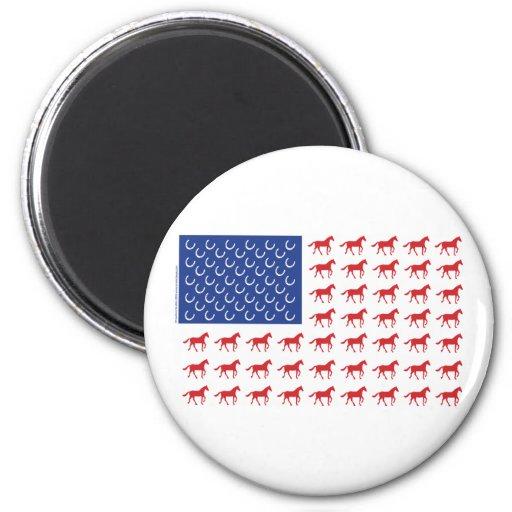 Bandera americana de los caballos patrióticos imán de frigorífico