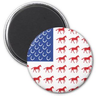Bandera americana de los caballos patrióticos iman para frigorífico