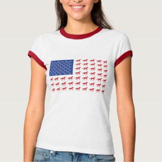 Bandera americana de los caballos patrióticos playera