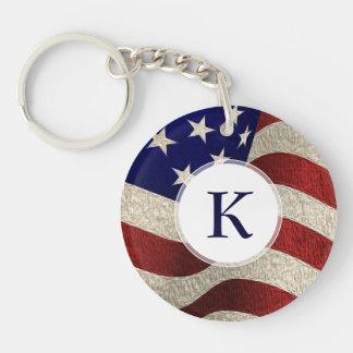 Bandera americana de los E.E.U.U. de las barras y  Llavero Redondo Acrílico A Una Cara