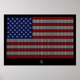 Bandera americana de los E.E.U.U. del ateo Póster