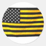 Bandera americana de los E.E.U.U. del negro y del Pegatina Redonda