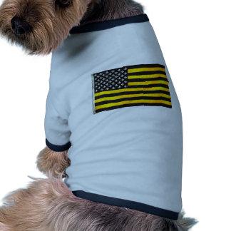 Bandera americana de los E.E.U.U. del negro y del  Camisetas Mascota