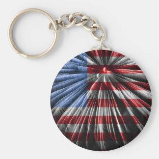 Bandera americana de los fuegos artificiales llaveros