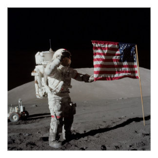 Bandera americana de los saludos del astronauta de impresiones