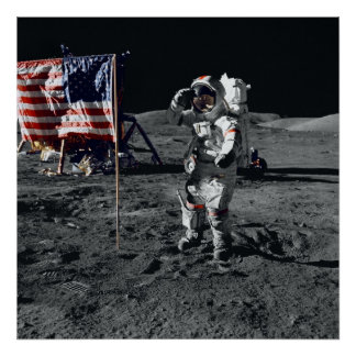 Bandera americana de los saludos del astronauta de poster