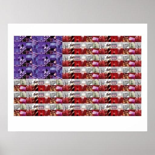 Bandera americana de los soldados posters