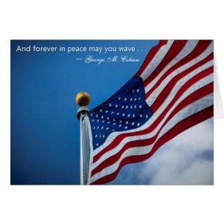Bandera americana de los veteranos patrióticos del felicitaciones