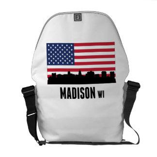 Bandera americana de los WI de Madison Bolsa Messenger