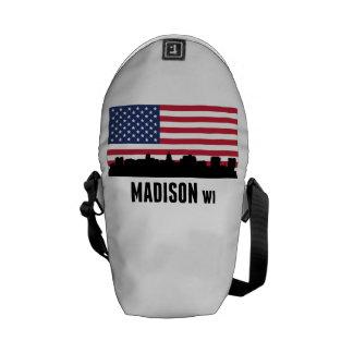 Bandera americana de los WI de Madison Bolsas De Mensajería