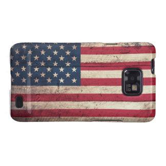 Bandera americana de madera vieja galaxy SII carcasa