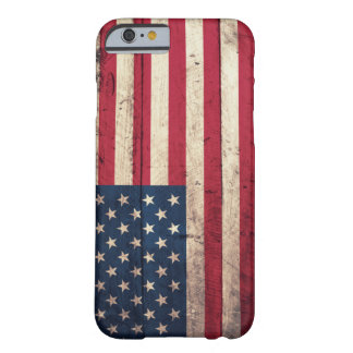 Bandera americana de madera vieja funda para iPhone 6 barely there