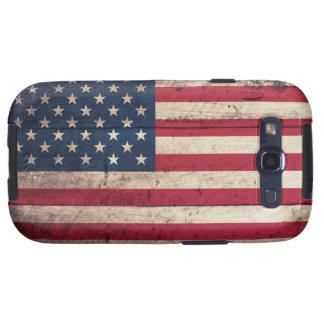 Bandera americana de madera vieja galaxy s3 cobertura