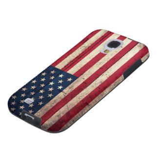 Bandera americana de madera vieja funda para galaxy s4