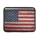Bandera americana de madera vieja funda macbook air