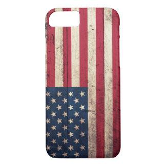 Bandera americana de madera vieja funda iPhone 7