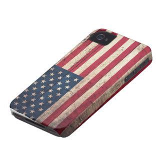 Bandera americana de madera vieja iPhone 4 cárcasas