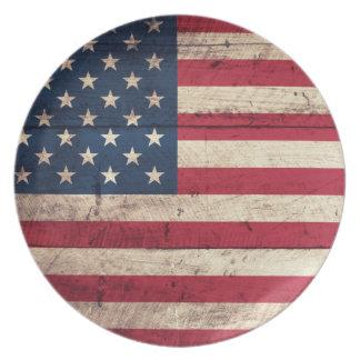 Bandera americana de madera vieja plato de cena