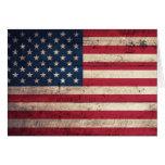 Bandera americana de madera vieja tarjeton