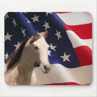 Bandera americana de Mousepad del caballo