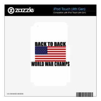 Bandera americana de nuevo a campeones traseros de iPod touch 4G skin