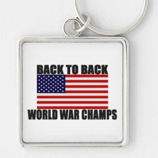 Bandera americana de nuevo a campeones traseros de llavero personalizado