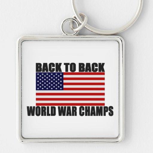 Bandera americana de nuevo a campeones traseros de llavero cuadrado plateado
