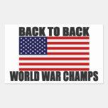 Bandera americana de nuevo a campeones traseros de etiquetas