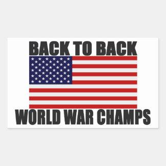 Bandera americana de nuevo a campeones traseros de pegatina rectangular