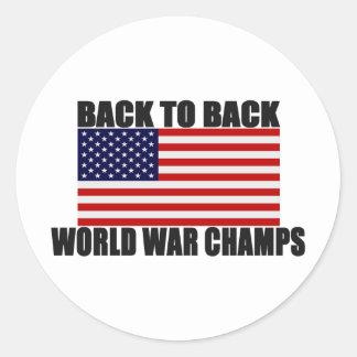 Bandera americana de nuevo a campeones traseros de pegatina redonda