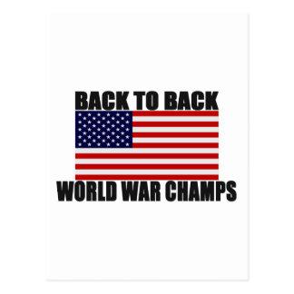 Bandera americana de nuevo a campeones traseros de postales