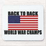 Bandera americana de nuevo a campeones traseros de tapete de raton