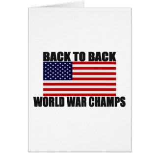 Bandera americana de nuevo a campeones traseros de tarjeta de felicitación