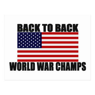 Bandera americana de nuevo a campeones traseros de tarjeta postal