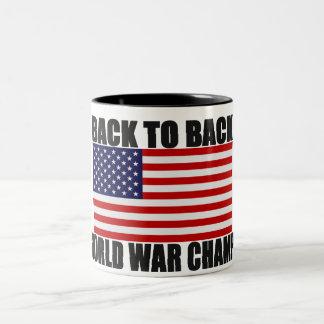 Bandera americana de nuevo a campeones traseros de tazas de café
