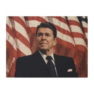 Bandera americana de Ronald Reagan Cuadro De Madera