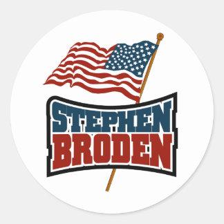 Bandera americana de Stephen Broden Pegatina Redonda