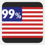 Bandera americana del 99% - ocupe Wall Street Calcomanías Cuadradas
