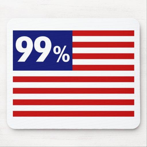Bandera americana del 99% - ocupe Wall Street Tapetes De Ratones